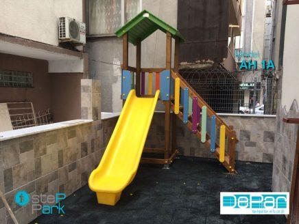 Ekonomik Düz Kaydıraklı Ahşap Oyun Parkı