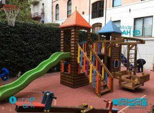 gondollu ahşap plastik oyun parkı