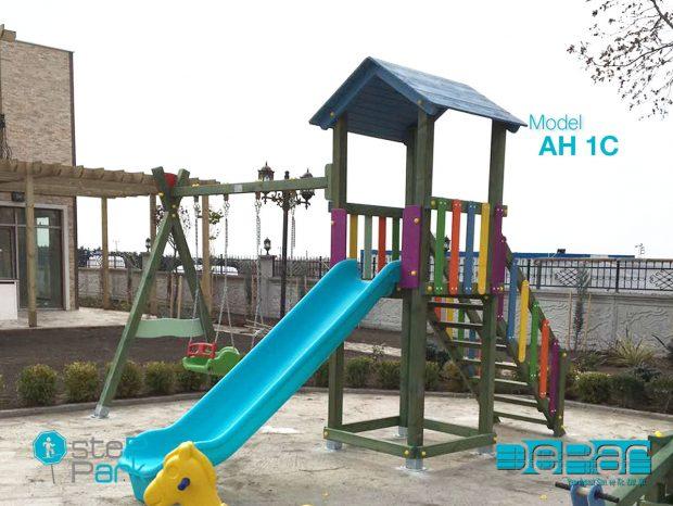 Ahşap Salıncaklı Kaydırak Çocuk Oyun Parkı